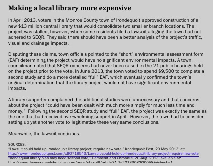 The approval process for a local library was dragged out because of SEQR