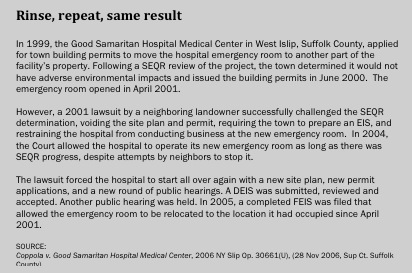 SEQR harassed a hospital trying to move its emergency room.