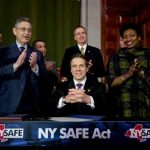 New York Gov. Andrew Cuomo and legislative leaders applaud after Cuomo signed New York's Secure Ammunition and Firearms Enforcement Act into law during a ceremony in the Red Room at the Capitol on Tuesday, Jan. 15, 2013, in Albany, N.Y. From left are Senate co-leader Jeffrey Klein, D-Bronx, Assembly Speaker Sheldon Silver, D-Manhattan, Lt. Gov. Robert Duffy, behind Cuomo, and Senate Democratic Leader Andrea Stewart-Cousins, D-Yonkers. Jumping out ahead of Washington, New York enacted the nation's toughest gun restrictions Tuesday and the first since the Connecticut school shooting, including an expanded assault-weapon ban and mandatory background checks for buying ammunition. (AP Photo/Mike Groll)